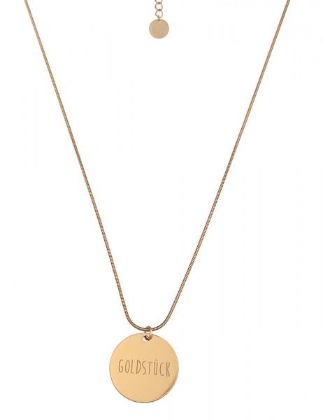 -50% SALE Leslii Damenkette Spruchkette Goldstück aus Metalllegierung Länge 86cm in Gold