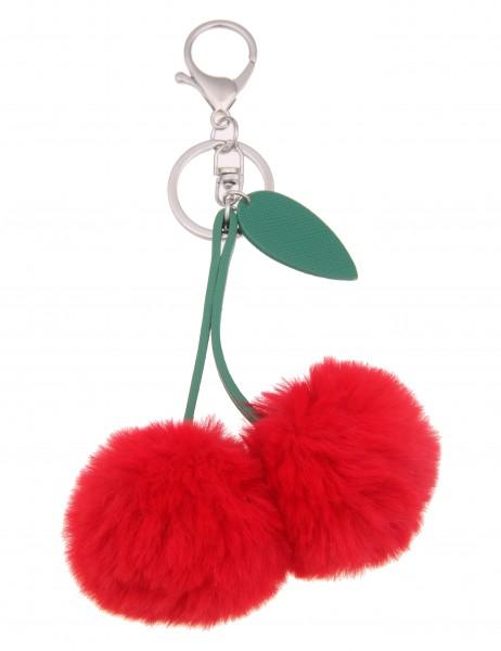 Leslii Damen Schlüssel-Taschenanhänger Kirsche Rot Grün Kunstfell Lederimitat 17cm 290116577