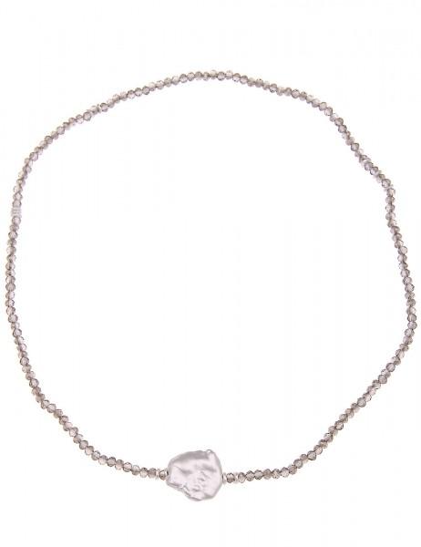 Kurze Kette Glasperlen silber - 13/grau