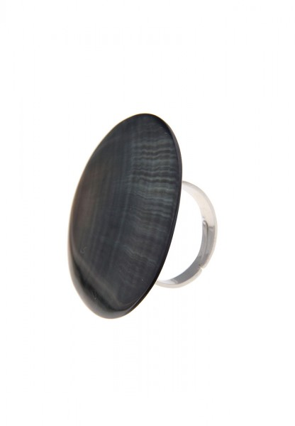 -50% SALE Leslii Ring Blacklip-Muschel Grau Silber | Trendiger Damen-Ring | Mode-Schmuck | Größe fle