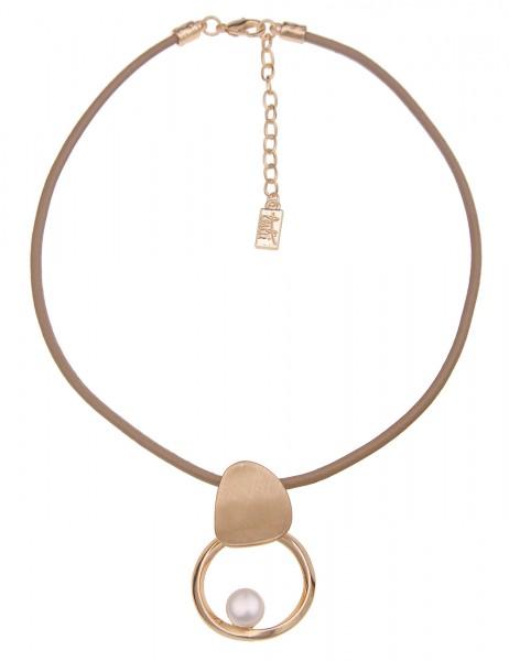 Leslii Kurze Halskette Perlen Ring in Braun Weiß