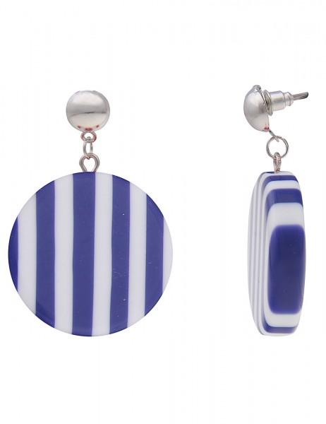 Leslii Damenohrringe Ohrhänger Stripes Round aus Metalllegierung mit Kunststoff Länge 4,5cm Blau Wei