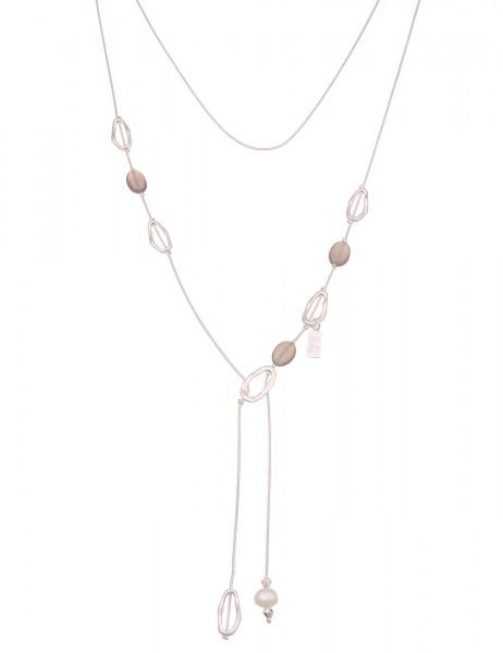 Leslii Damen-Kette Y-Kette Natur-Stein echte Perle Stein-Kette lange Halskette silberne Modeschmuck-
