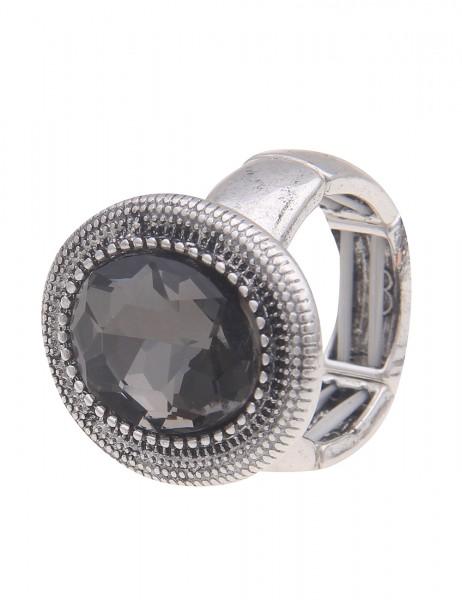 Leslii flexibler silberner Ring mit Anthrazit Stein