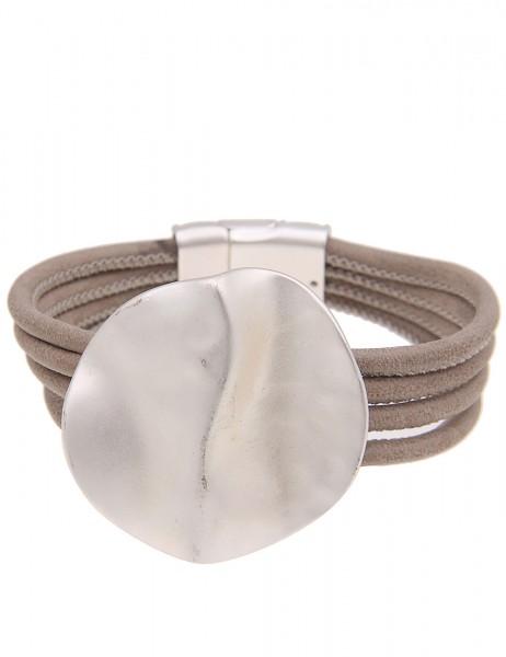 Leslii Damenarmband Wellen Look aus Lederimitat mit Metalllegierung Länge 19cm in Silber Taupe