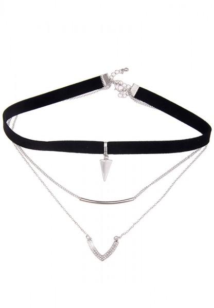 Leslii Choker Dreieck Schwarz | Trendiges Kropfband | Damen Mode-Schmuck | 36cm + Verlängerung