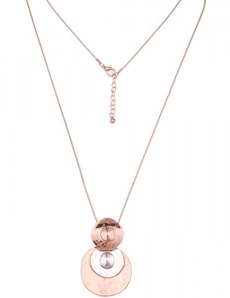 Leslii Damenkette Bicolor Scheiben aus Metalllegierung Hochglanz Länge 85cm in Silber Rosé