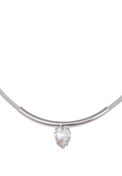 -70% Sale! Leslii Halskette Glitzer Once Grau Silber | kurze Damen-Kette Mode-Schmuck | 44cm + Verlä