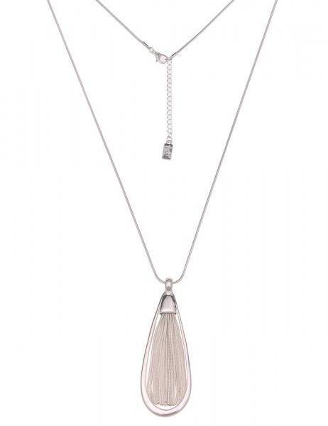 Silberne lange Halskette mit silbernen Anhänger