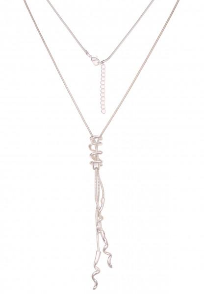 Leslii Damen-Kette Hochglanz Spirale Spiral-Anhänger silberne Halskette lange Modeschmuck-Kette Schl