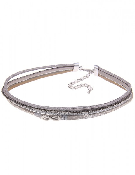 Leslii Halskette Choker Unendlich Grau | kurze Damen-Kette Mode-Schmuck | 39cm + Verlängerung