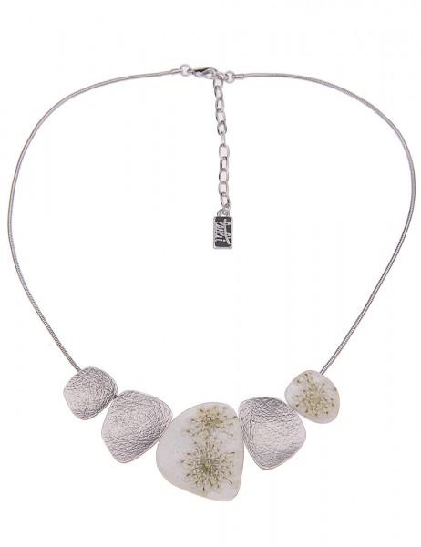 Leslii Damenkette Wilde Möhre aus Metalllegierung mit echten Blüten Länge 45cm in Silber Weiß