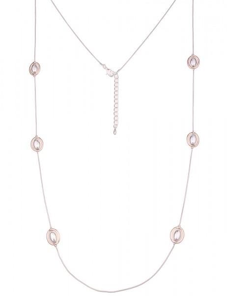 Leslii Damen-Kette Bicolor Ovale Silber Rosé Metalllegierung Hochglanz 110cm + Verlängerung 22011678