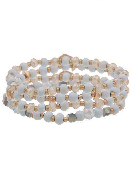 Leslii Damen-Armband 4er Set Statement-Armband Holz-Kugeln Glasperlen goldenes Modeschmuck-Armband G