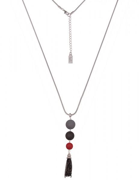 Leslii Damenkette Ketten-Kugel Trio aus Metalllegierung Länge 80cm in Silber Rot