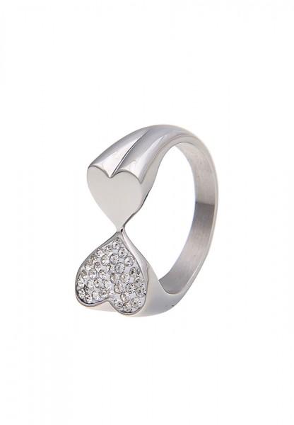-50% SALE Leslii Damen-Ring Glitzer Herzstück Silber Metalllegierung Strass Größe 17mm, 18mm oder 19