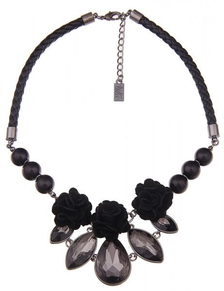 Leslii Damenkette Statement Flowers aus Lederimitat mit Glassteinen Länge 42cm in Schwarz
