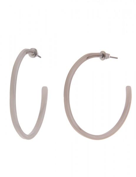 Leslii Damenohrringe Creolen New Look aus Kunststoff Größe Ø 4,5cm in Grau