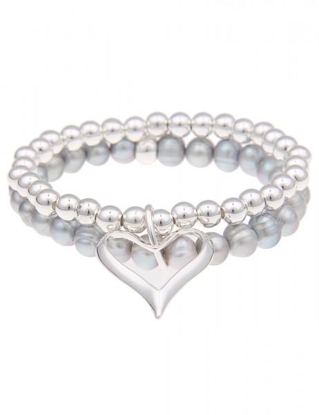 Leslii 2er Armband Perlen Herz Grau | Damen-Armband Mode-Schmuck | Größe: 19cm (flexibel)