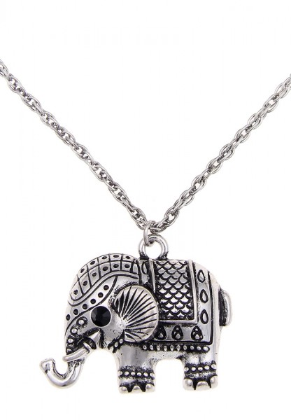 -70% SALE Leslii Elefant Silber | Trendige kurze Kette | Damen Mode-Schmuck | 44cm + Verlängerung