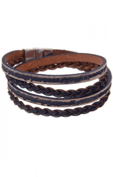 -50% SALE Leslii Damen Wickel-Armband Used-Look Leder Metalllegierung 39cm mit Magnetschließe Blau 2