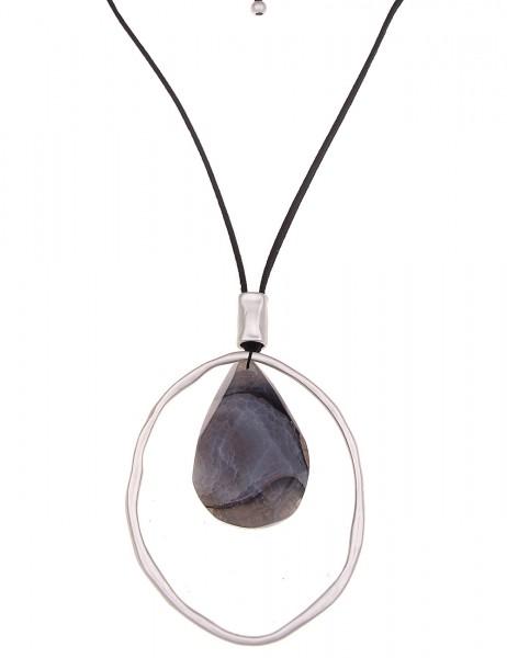 LAST CHANCE Leslii Premium Quality Halskette Achat Stein Grau | lange Damen-Kette Mode-Schmuck | 100