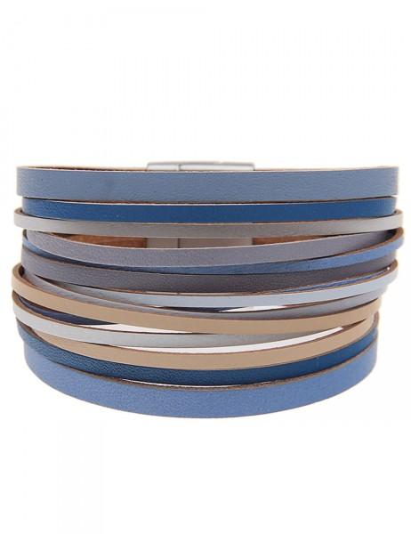 Leslii Damen-Armband Farbenspiel Blau Lederimitat Metalllegierung Länge: 19.5cm Magnetschließe 26011