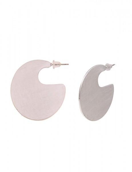 -50% SALE Leslii Damen-Ohrringe Creolen Statement Look Silber Metalllegierung Matt Hochglanz Ø 3,6cm