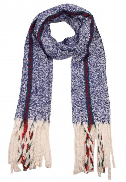 Leslii Damen XXL-Schal Streifen Muster 100% Polyester 192cm x 51cm Blau Rot 900217155
