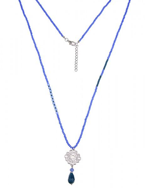 Leslii Damen-Kette Glasperlen Blüte Silber Blau Metalllegierung Naturstein 90cm + Verlängerung 22011