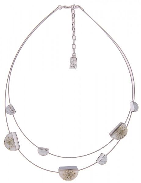 Leslii Damenkette Halsreif Wilde Möhre aus Metalllegierung mit echten Blüten Länge 43cm in Silber We
