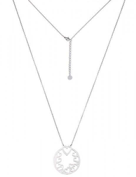 Leslii Damen-Kette Herz-Ring Silber Metalllegierung 80cm + Verlängerung 220115731