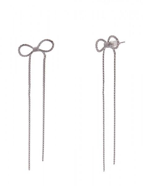 Leslii Damen-Ohrringe Ohrhänger Glanz Schleife Schleifen-Ohrringe Statement silberne Modeschmuck-Ohr