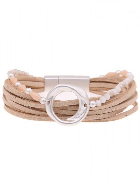Leslii Armband Glasperlen Ring Beige Silber | modisches Damen-Armband Mode-Schmuck | Länge: 20cm