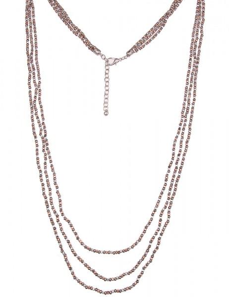 Leslii Damenkette Statement Tricolor aus Metalllegierung Hochglanz 100cm Grau Rosé