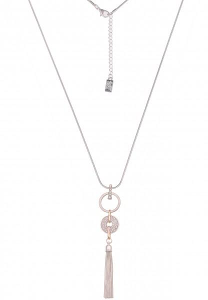 Leslii Damen-Kette Tricolor Strass-Kette Tassel Quaste Troddel lange Halskette Modeschmuck-Kette in