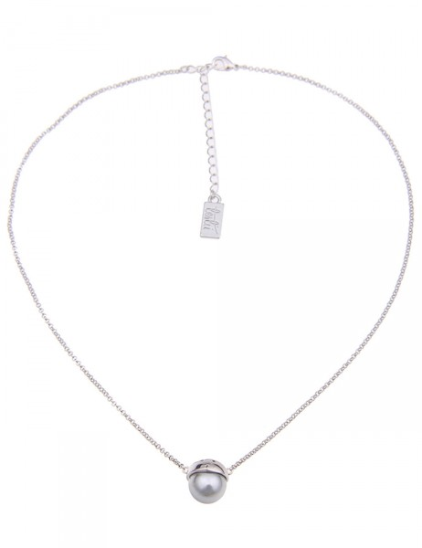 Leslii Damenkette Timeless Pearl aus Metalllegierung mit Perle Länge 42cm in Silber Grau