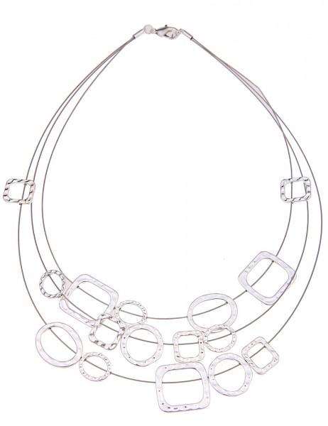 Leslii Damenkette Halsreif Formen Mix aus Metalllegierung Länge 45cm in Silber Hochglanz