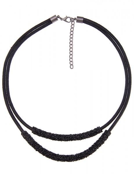 Leslii Damenkette Black Shine aus Textil mit Strass Länge 48cm in Schwarz