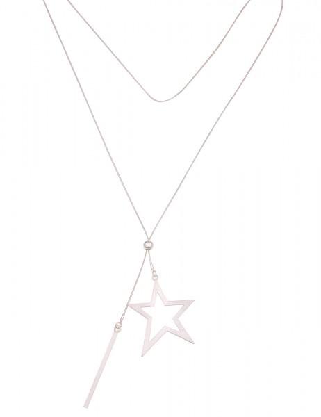 Leslii Damen-Kette Y-Kette Stern Metalllegierung Länge 80cm Silber 220116805