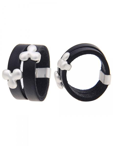 Leslii Damen-Ring Kleeblatt Silber Schwarz Lederimitat Metalllegierung Größe 17mm, 18mm oder 19mm 25
