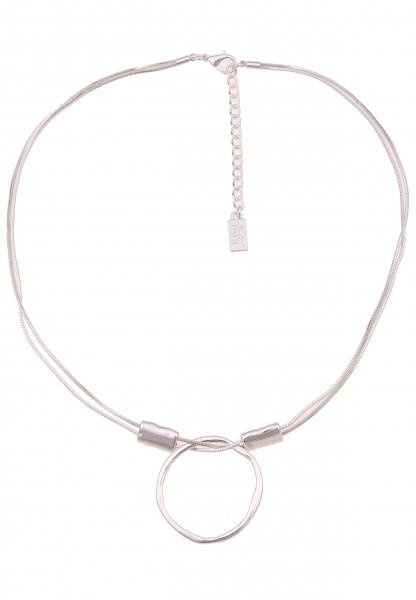 Leslii Damenkette Ring Hochglanz 2-reihig Schlangenkette Halskette Modeschmuck-Kette Länge 47cm in S