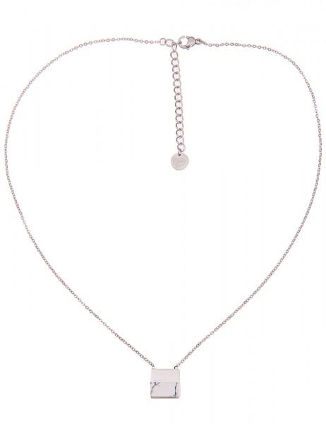 -50% SALE Leslii 4teen Damenkette Marmor Look aus Metalllegierung mit Naturstein Länge 39cm in Silbe