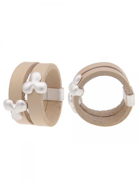 -50% SALE Leslii Damen-Ring Kleeblatt Silber Beige Lederimitat Metalllegierung Größe 17mm, 18mm oder