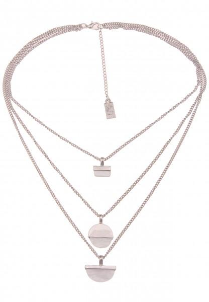 Leslii Damen-Kette Layering Perlmutt-Look Collier Glieder-Kette kurze Halskette silberne Modeschmuck