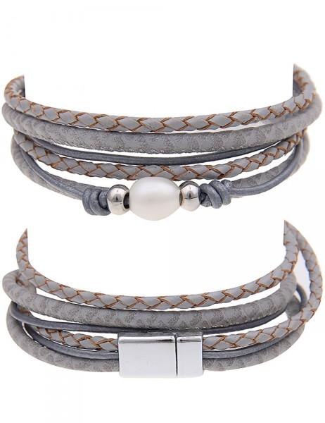 Leslii Damen-Armband Wickelarmband Single Pearl Lederimitat 39,5cm mit Magnet-Verschluss 260115980