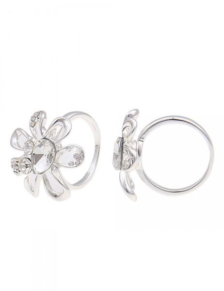 -50% SALE Leslii Damen-Ring Glitzer-Blume Metalllegierung 17mm, 18mm oder 19mm 250315655