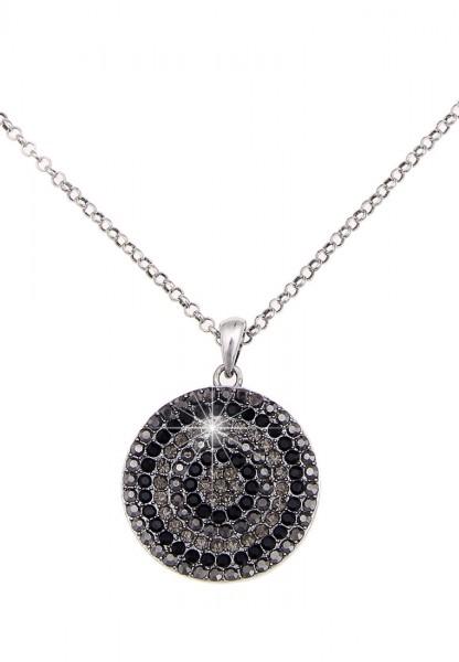 -70% SALE Leslii Halskette Glitzer Kreise Silber Schwarz | kurze Damen-Kette Mode-Schmuck | 44cm + V