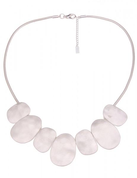 Leslii Damen-Kette Collier Kratz-Muster mattierte Statement-Kette kurze Halskette silberne Modeschmu