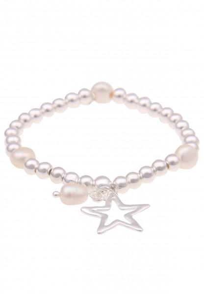 Leslii Damen-Armband Glanz Stern-Armband weißes Perlen-Armband Stern-Schmuck silbernes Modeschmuck-A